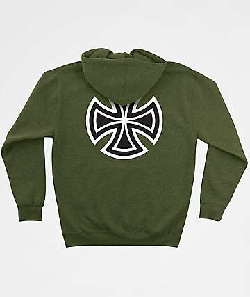 Independent Bar Cross Army Heather Green Hoodie