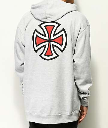 Independent Bar Cross Heather Grey Hoodie