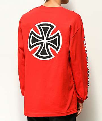 Independent Bar Cross Red Long Sleeve T-Shirt
