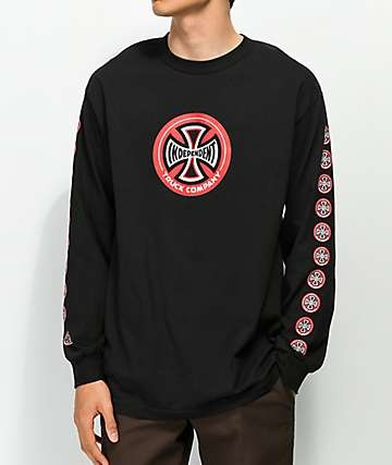 Independent Hollow Cross Black Long Sleeve T-Shirt