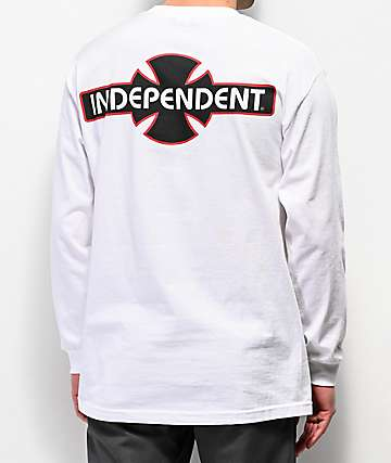 Independent O.G.B.C. Vertical White Long Sleeve T-Shirt