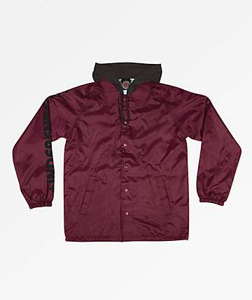 Independent Tonal Bar Cross Burgundy Hooded Coaches Jacket