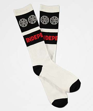 Independent Woven Crosses White & Black Crew Socks