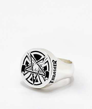 Independent x Thrasher Pentagram Cross Silver Ring