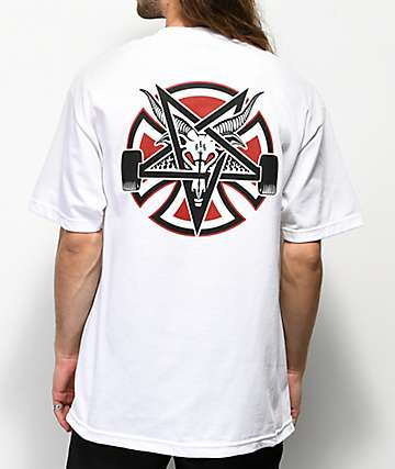 Independent x Thrasher Pentagram camiseta blanca