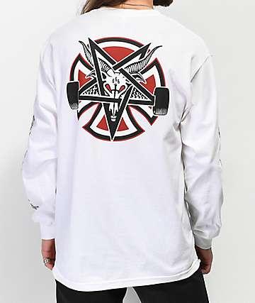 Independent x Thrasher Pentagram camiseta blanca de manga larga