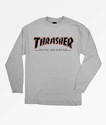 Independent x Thrasher Time To Go Grey Long Sleeve T-Shirt