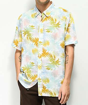 JSLV Distressed Palms Short Sleeve Button Up Shirt
