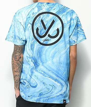 JSLV Marble camiseta azul con efecto tie dye