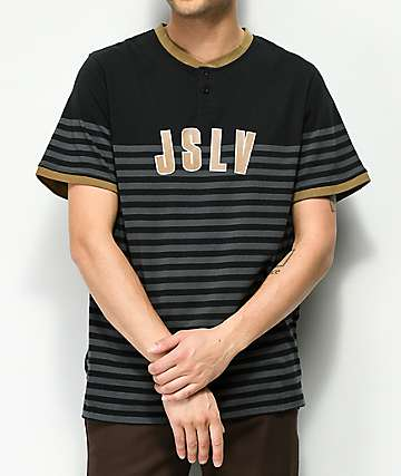 JSLV Penn Brown, Black & Charcoal Stripe Henley T-Shirt