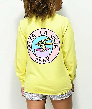 JV  by Jac Vanek Pasta La Vista Yellow Long Sleeve T-Shirt