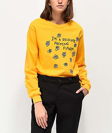 JV By Jac Vanek Delicate Flower Yellow Long Sleeve T-Shirt