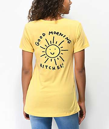 JV by Jac Vanek Good Morning Bitches Yellow T-Shirt