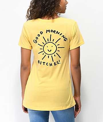 JV by Jac Vanek Good Morning Bitches Yellow T-Shirt