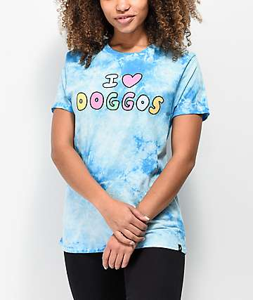 JV by Jac Vanek I Love Doggos Blue Tie Dye T-Shirt