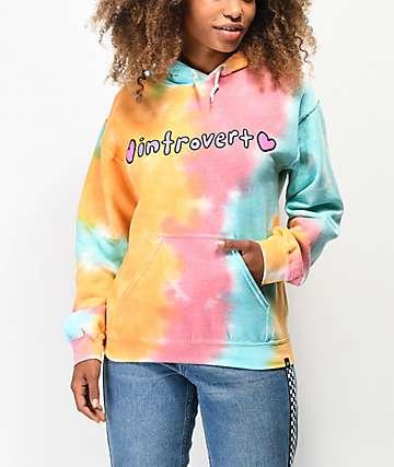 JV by Jac Vanek Introvert Orange, Pink & Blue Tie Dye Hoodie