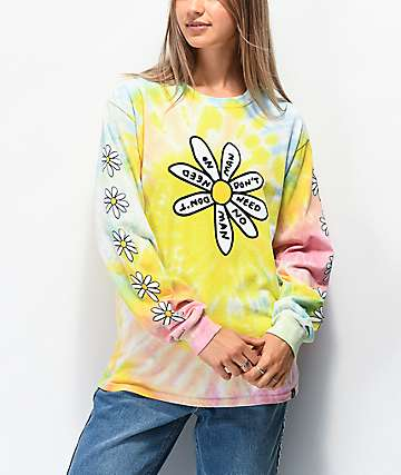 JV by Jac Vanek Need No Man Tie Dye Long Sleeve T-Shirt