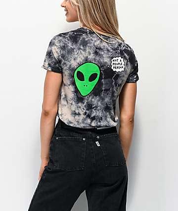 JV by Jac Vanek Not A People Person Alien Black & White Tie Dye T-Shirt