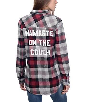 JV by Jac Vanek Pax Namaste camisa de franela en rojo y gris