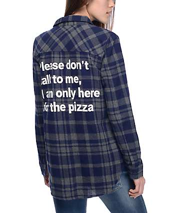 JV by Jac Vanek Pax Pizza camisa de franela en azul marino y gris