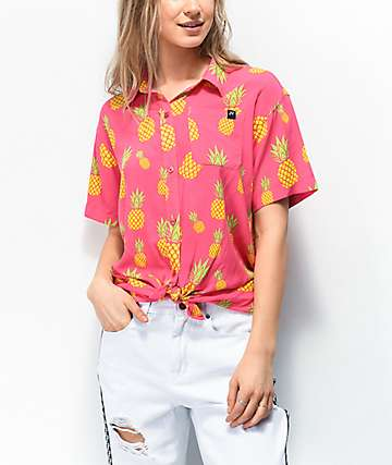 JV by Jac Vanek Pineapples Pink Tie Front Short Sleeve Button Up Shirt