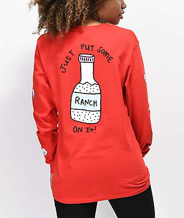 JV by Jac Vanek Throw Some Ranch On It Red Long Sleeve T-Shirt