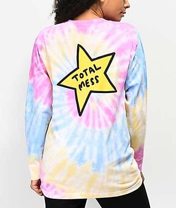 JV by Jac Vanek Total Mess camiseta de manga larga con efecto tie dye