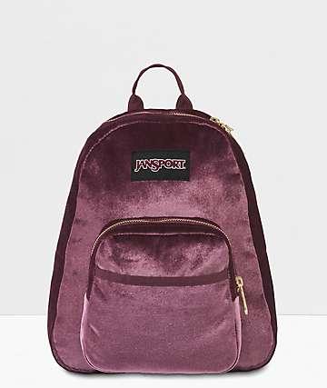JanSport Half Pint FX Dried Fig Velvet Mini Backpack