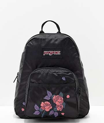 JanSport Half Pint FX mini mochila satinada con rosas