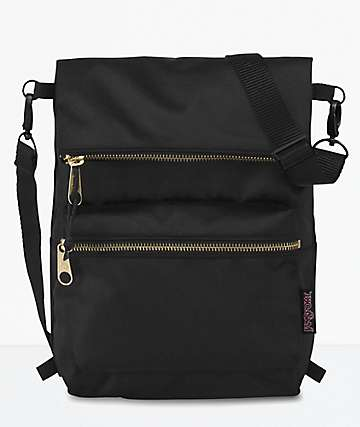JanSport Indio Black & Gold Convertible Mini Backpack