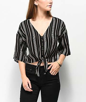 Jolt Black & White Stripe Tie Front Top