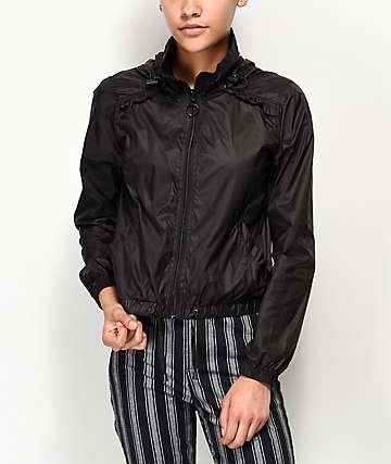 Jolt Black Cropped Windbreaker Jacket