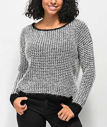 Jolt Fuzzy Black & White Sweater