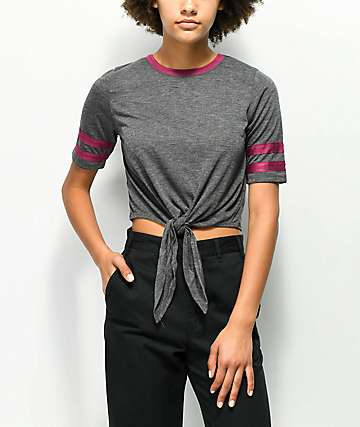 Jolt Karlie Athletic Stripe Tie Front Grey T-Shirt