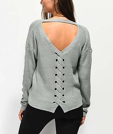 Jolt Lace Back Detail Ice Blue Sweater