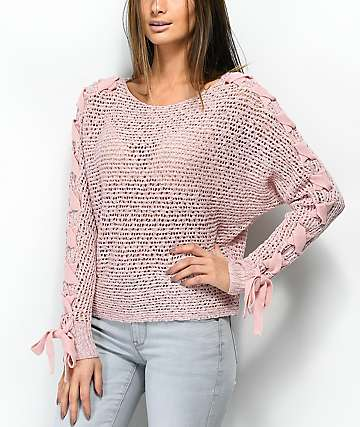 Jolt Lace Up Sleeves Pink Sweater