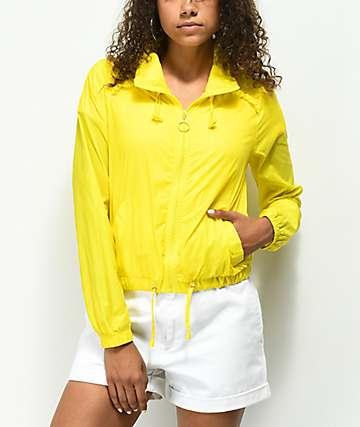 Jolt Yellow Cropped Windbreaker Jacket