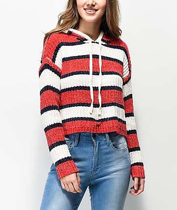 Jolt suéter con capucha blanco, rojo y azul