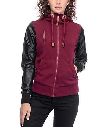 Jou Jou Cara Oxblood & Black Zip Up Hooded Jacket
