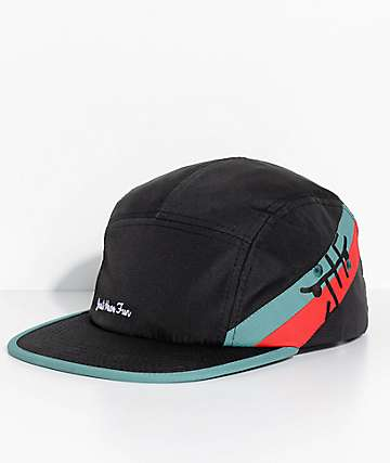 Just Have Fun Happy Camper Black, Red & Green 5 Panel Hat