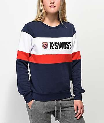 K-Swiss Layline sudadera con cuello redondo rojo, blanco y azul