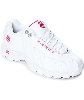K-Swiss ST329 White & Shocking Pink Shoes