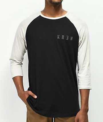 KR3W Distress Locker camiseta negra de béisbol