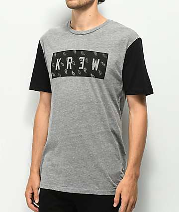 KR3W Paisley Locker Grey & Black T-Shirt