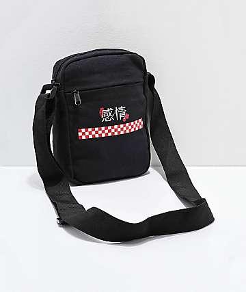 Kanji Blossom Black Shoulder Bag