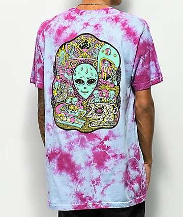 Killer Acid No Bad Trips camiseta azul y morada con efecto tie dye