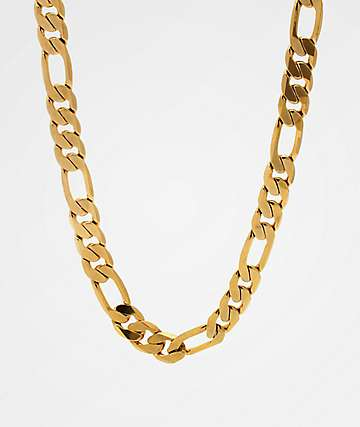 King Ice 10mm Figaro Gold Chain Necklace