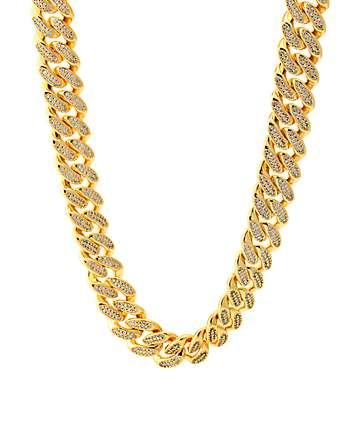 King Ice 18K Gold 15mm Studded Miami Cuban cadena tejida