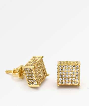 King Ice 3D Hip Hop Gold Earrings