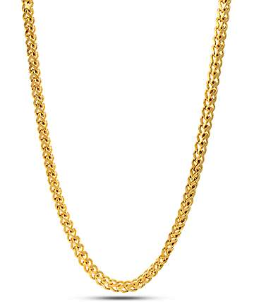 """King Ice 4mm 14K Gold 30"""" Franco Chain"""